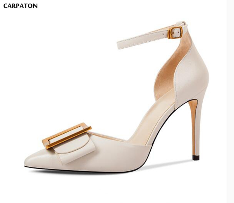 Carpaton Metal Belt Buckle Classic PU Leather Sheepskin insole Women Shoes Fashion Ankle Buckle Thin High Heels Sandals 247 classic leather
