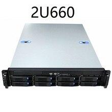 2U660mm 8 ディスクのホットスワップ可能な 19 インチラックサーバー産業用コンピュータ収納インターネットカフェコンピュータケース