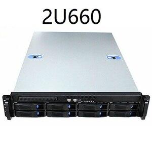 Image 1 - 2U660mm 8 disk hot swappable 19 дюймовая стойка, корпус сервера, промышленное компьютерное хранилище, Интернет кафе, чехол для компьютера