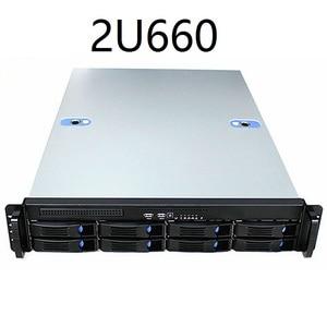 Image 1 - 2u660mm 8 디스크 핫 스왑 가능 19 인치 랙 서버 섀시 산업용 컴퓨터 스토리지 인터넷 카페 컴퓨터 케이스