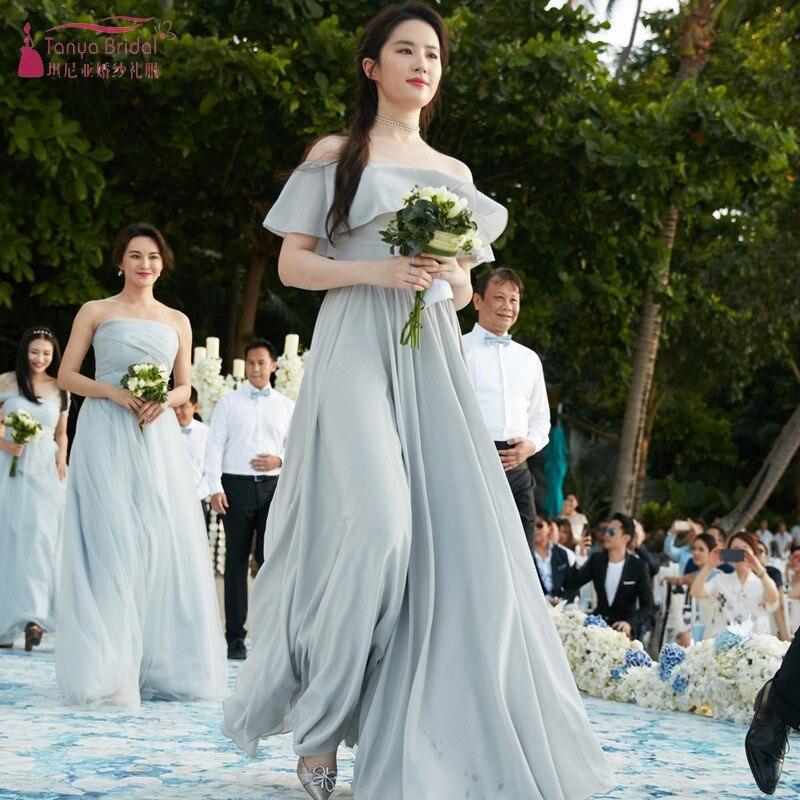Col bateau une ligne longue en mousseline de soie bleu clair robes de demoiselle d'honneur à lacets dos Simple robe de mariée invité robe JQ96