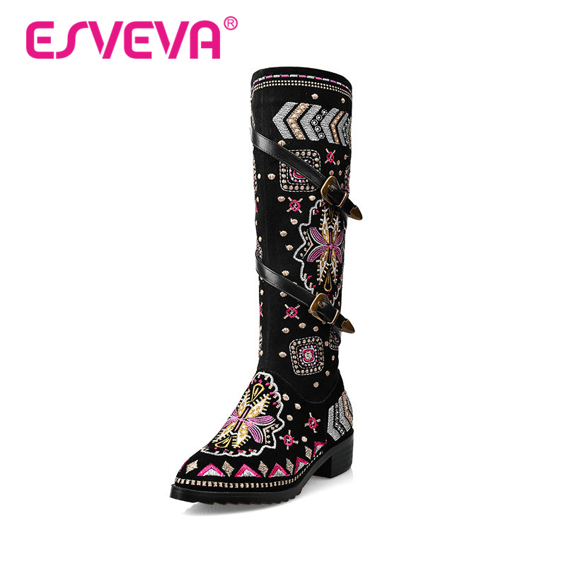 ФОТО ESVEVA 2016  National Style Shoes Women Fashion Boots Flock + Real Leather Ladies Thick Heel Buckle Knee High Boots Size 34-43