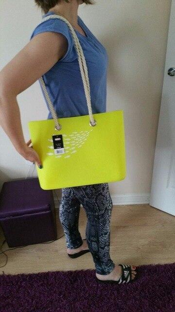 2b6a0c861 Fish Printing Beach Bag for Women Handbag, Candy Jelly Rubber Waterproof O  Bag w/ Rope Handles
