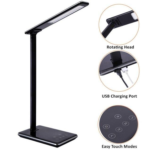 Складной Дизайн настольная лампа LED 5 уровень затемнения touch Управление настольная лампа офис свет с зарядка через USB порт 1 ч/ 2 ч Время автоматического выключения
