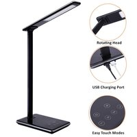 Folding Design LED Desk Lamp 5 Level Dimmable Touch Control Table Lamp Office Light With USB