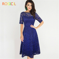 ROSICIL High Quality Womens Elegant Sexy Lace See Through Tunic Casual Bridesmaid Mother of Bride Dress Skater Party Dress