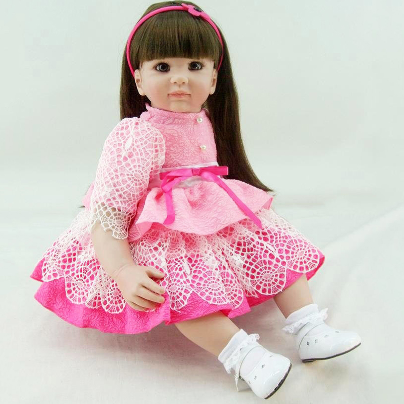 Pink Realistic Soft Silicone Dolls Babies Girl Lifelike Cute Fashion Birthday Gifts about 60cm Dolls For baby Girls Bedtime Toys