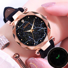 Women Starry Sky Lightning Dial Watch Fashion Diamond Ladies Red Leather Quartz Wrist Watches Luxury Rose Gold Female Clock 2019 все цены