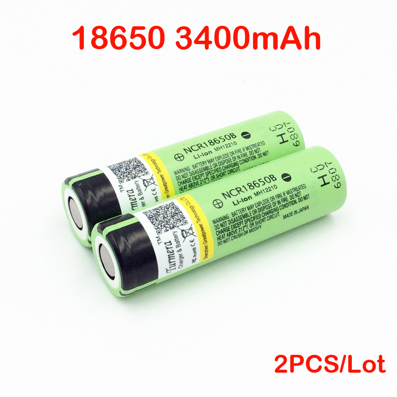 ncr18650b 18650 battery 3400mah original ncr18650b 3.7V 18650 3400mah rechargeble battery 2pc