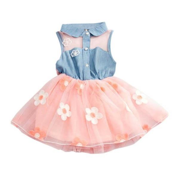 Summer Girls Cute Princess Dress Children Baby Kids Denim Shirt Tulle Tutu Dress Clothes 2-7T 9