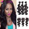 7A Peruvian Virgin Hair Body Wave With Closure,3 Bundles With Closure,Peruvian Lace Closure With Bundles Human Hair With Closure