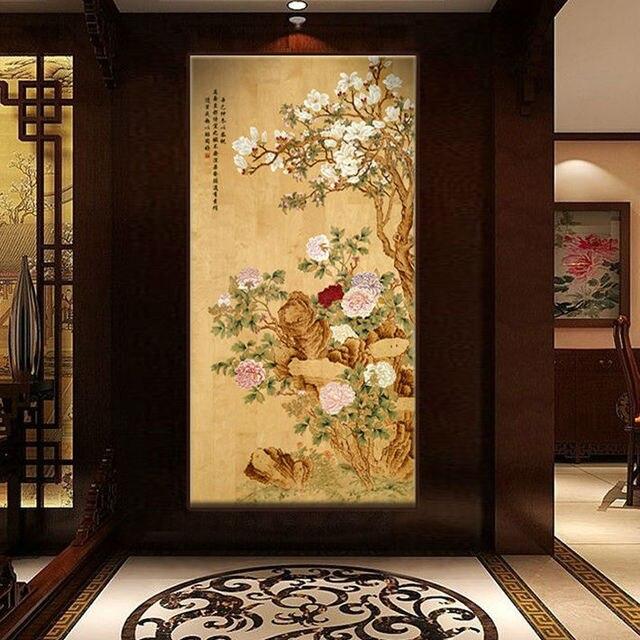 Bnqj Handpainted Traditional Chinese Painting Flower Peony Wall Decor Art Handcraft Artwork High Quality Customizable 16040
