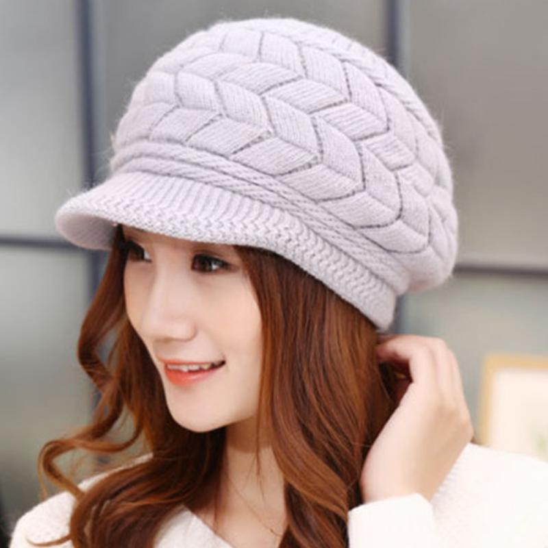 Hot New Fashion Solid Color Women Winter Warm Double-deck Hat Headwear Knitted Crochet Hat Female Cap