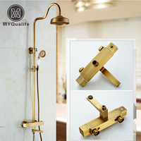 Luxury Bathroom Shower System Wall Mount Brass Thermostaitic Bath Shower Faucet Retro Style With Swivel