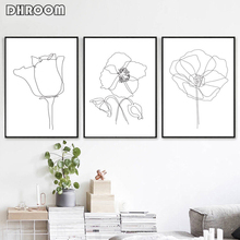 Flowers Sketch Print Botanical Wall Art Plant Line Drawing Canvas Painting Scandinavian Poster Art Wall Picture for Living Room botanical print shirt