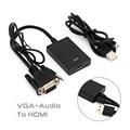 Vga para hdmi conversor adaptador de cabo hdmi v1.4 hd 1080 p usb power 3.5mm de áudio preto 2016 novo por atacado ou varejo