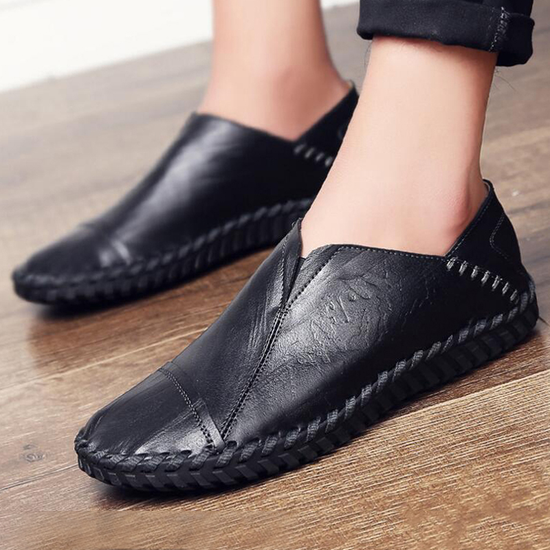 Men shoes Genuine Leather 2018 New arrivals Breathable Flat sneakers Men Spring Loafers size 38 - 44 2018 brand new spring men slip on shoes breathable shoes british style shoes loafers genuine leather flat shoes wa 03
