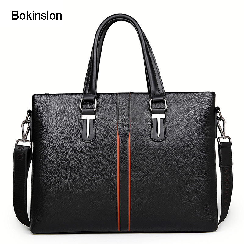Bokinslon Business Man Bags Solid Color Fashion Handbags Men Bags PU Leather Popular Handbag Male Bags High Quality bokinslon handbags bags men cow split leather multifunction man business bags casual practical shoulder bags male