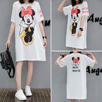 LONIMAN 2017Summer New Fashion T Shirts Letter MINI MOUSE Print Long T Shirt Short Sleeve Casual
