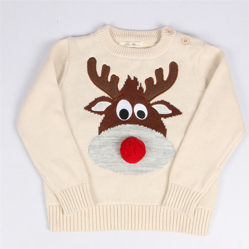1-5 Years Baby Boy Girl Christmas Sweater Knitted Reindeer Kids Pullover Warm Child Clothes Toddler Boys Girls Knitting Sweater