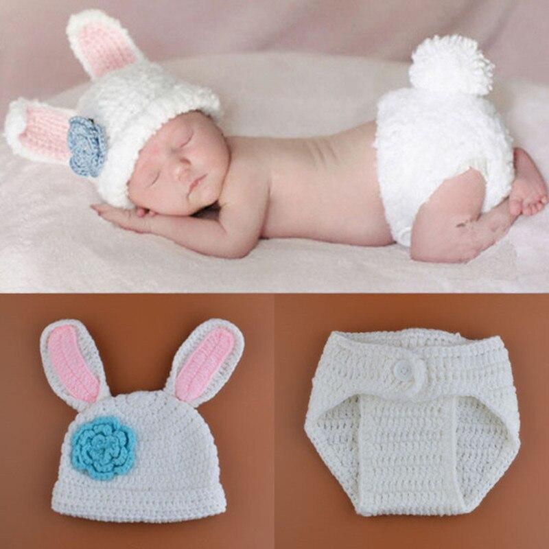 New Crochet Baby Bunny Rabbit Hat And Diaper Cover Set Newborn