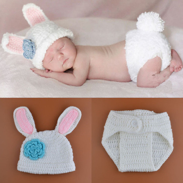 New Crochet Baby Bunny Rabbit Hat and Diaper Cover Set Newborn Easter or  Halloween Photo Prop Knitted Costume Set H188 7dcfc02da81b