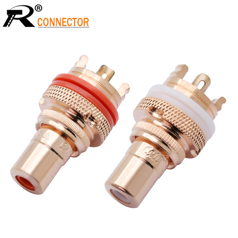 2Pcs/1Pair Copper CMC RCA Female Terminal Jack Socket AV Audio Video Connector High Quality