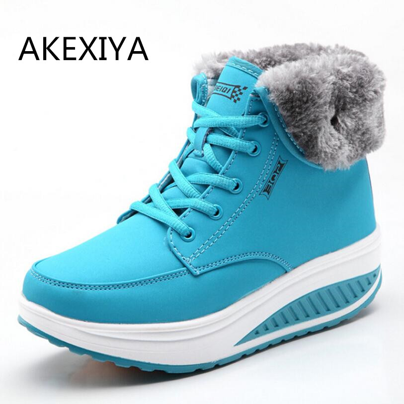 Women Snow boots Wedges Ankle Boots Fashion Slimming Swing Shoes Plush Solid Round Toe Platform Casual Winter