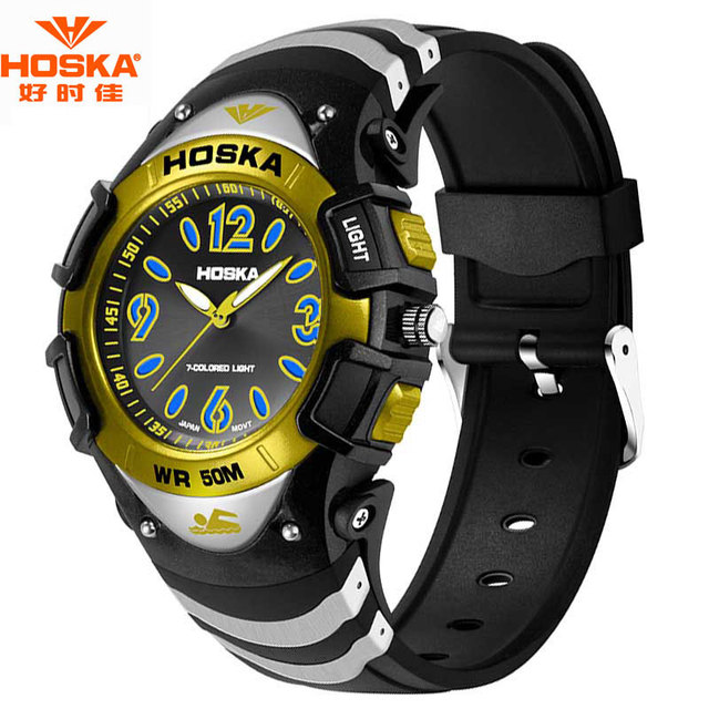 Watch Men Luxury Brand Famous HOSKA Running Swimming Fitness Stop Watch Rubber Band Shockproof Waterproof Digital-Watch H804