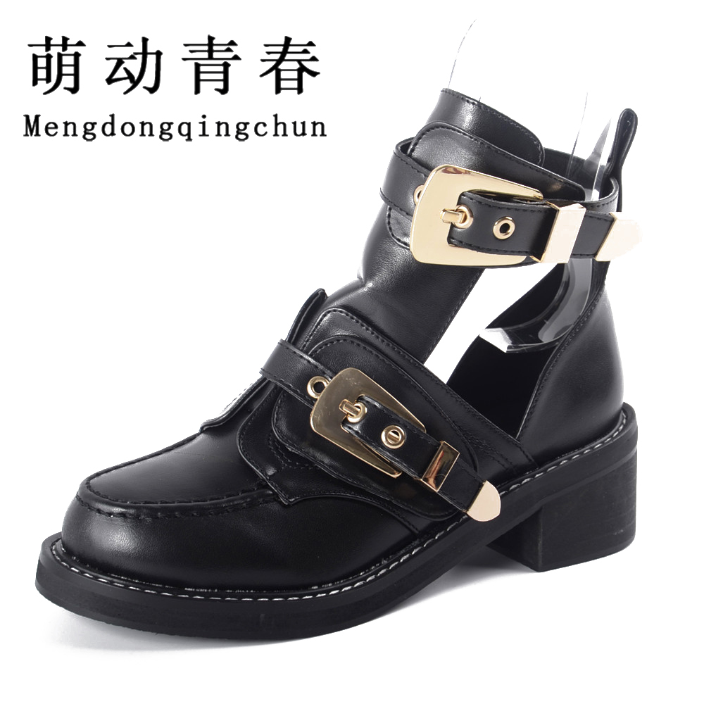 High quality 2016 Brand Luxury Summer style Women Ankle Boots heels buckle hollow leather woman shoes punk women's boots цены онлайн