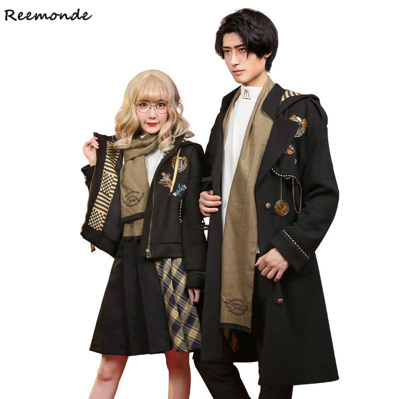 Adult Hufflepuff College Cosplay Costumes Scarfs Trench Jackets Coat Skirt For Women Girl Boys Party School Of Magic Clothes
