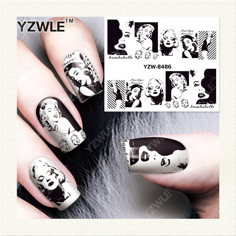 YWK  1 Sheet DIY Designer Water Transfer Nails Art Sticker / Nail Water Decals / Nail Stickers Accessories (YZW-8486) yzwle 1 sheet diy designer water transfer nails art sticker nail water decals nail stickers accessories yzw 8565