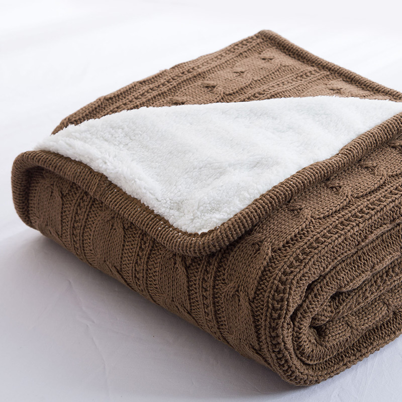 Papa&Mima Solid color Brown Knitted Cotton Throws Blankets  soft Double face Bedsheets Faux Cashmere Fiber cotton lamb fleece blanket 115 115cm 100% cashmere double face blankets nordic style
