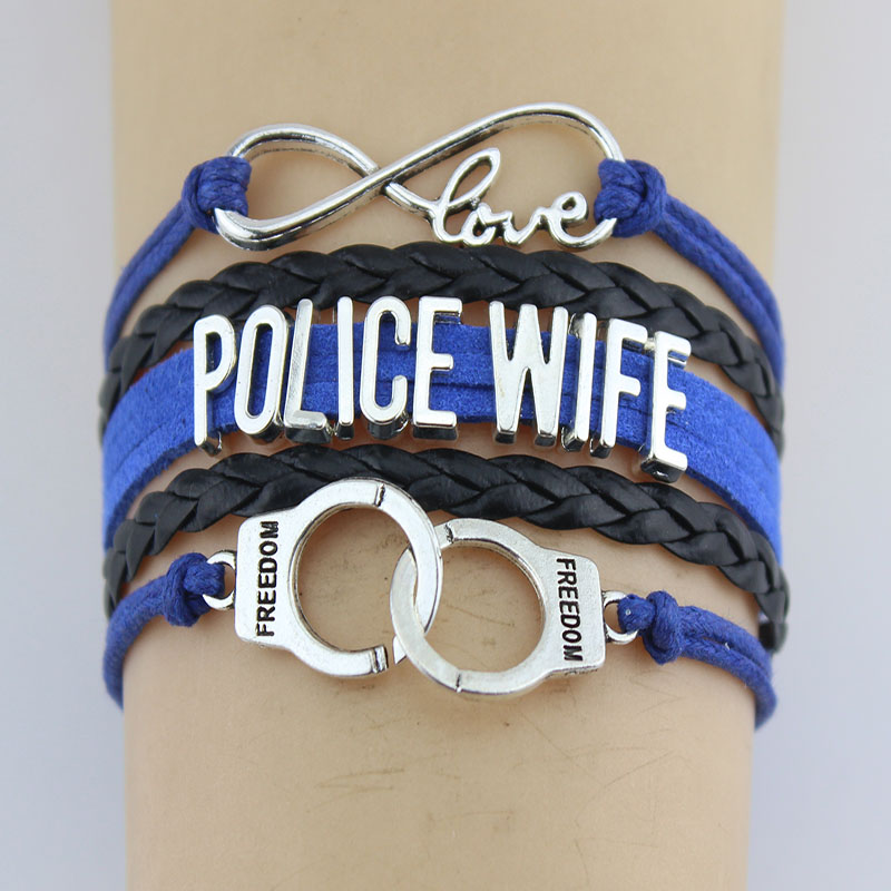 Infinity Love Police Wife Officer Bracelets Heart Pendant