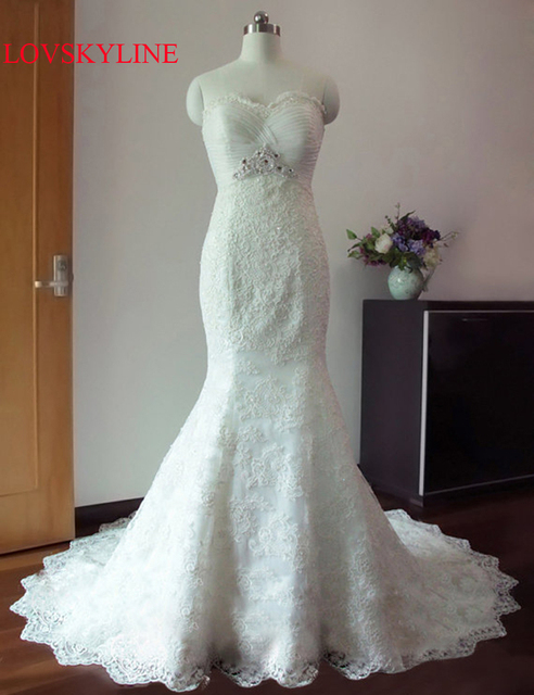 Mermaid Bridal Gown Fish Tail Fashionable Y Wedding Dress 2018 Pearls Beaded Lace Liques