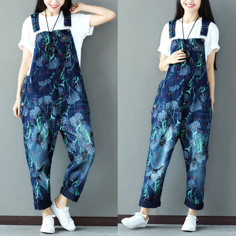 Free Shipping 2017 New Printed Ladies Overalls Denim Jeans Loose Jumpsuits And Rompers With Holes Plus Size Jumpsuits For Women стоимость