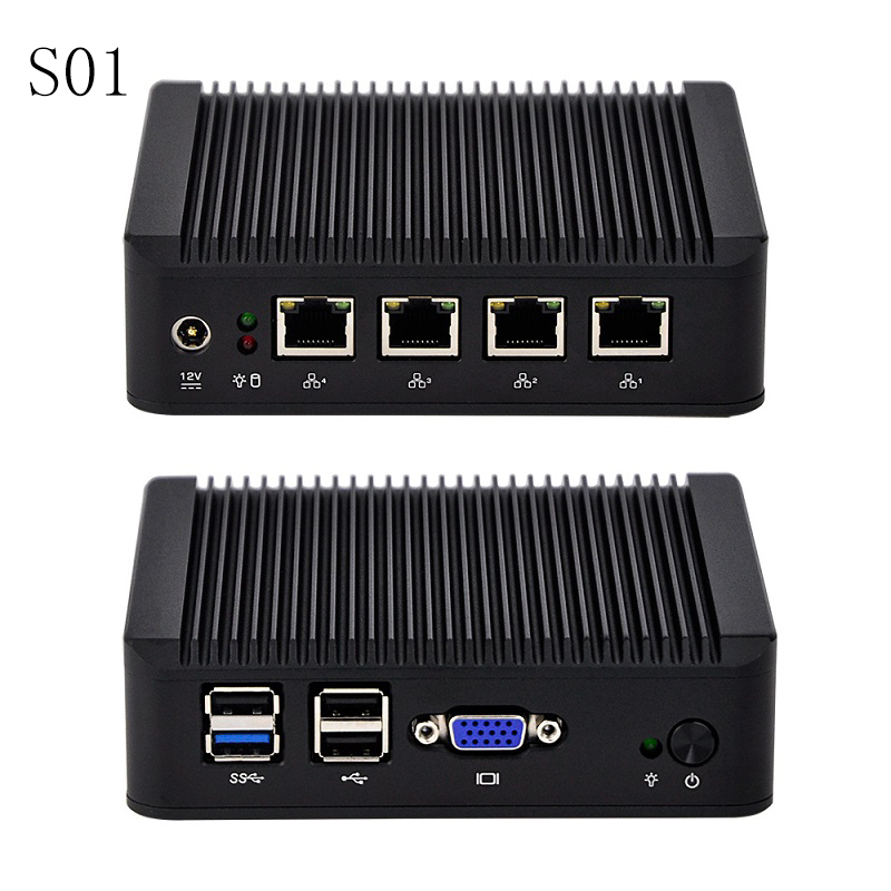 Latest New 4 Gigabit Lan Industrial Mini Router With J1900,1080P VGA,USB 3.0,Firewall Gateway Support PFsense