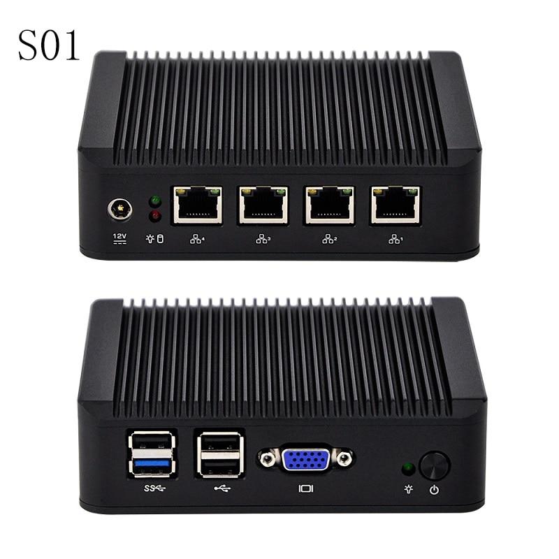 Latest New 4 Gigabit Lan Industrial Mini Router With J1900,1080P VGA,USB 3.0,Firewall Gateway Support PFsense