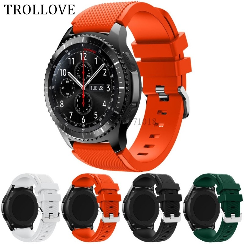 TROLLOVE For Gear S3 Frontier / Classic Watch Band, 22mm Soft Silicone Man Watch Replacement Bracelet Strap for Samsung Gear S3 22mm replacement strap for samsung gear s3 classic watch band sport silicone bracelet strap for samsung gear s3 frontier band