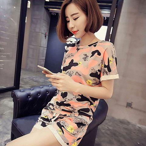 Women Camo Print Tshirt + Shorts Sleep Wear O-neck crimping Sleeve Home Nightgowns Girl Pajama Sets 2pcs Sleep & Lounge Lahore