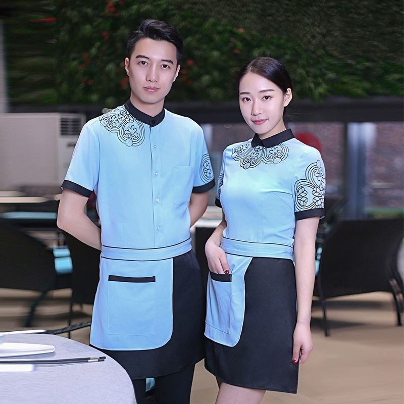 Summer Short Sleeved Work Clothes Hotel Restaurant Farmhouse Waiter Uniforms Tea House Food Service Work Wear For Women Men