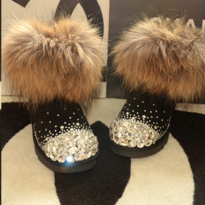Free Shipping Handmade Rhinestone crystal girl's kids bling fox split leather fur Snow Boots children Boots warm Winter Shoes