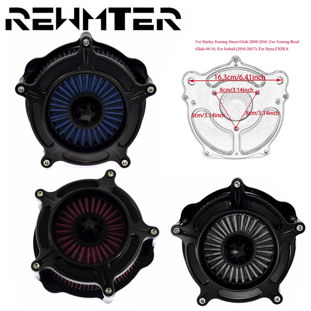 Black Turbine Spike Air Filter Air Cleaner Intake Filter For Harley Softail 16 17 Dyna Touring Street Glide 2008 2014 2015 2016