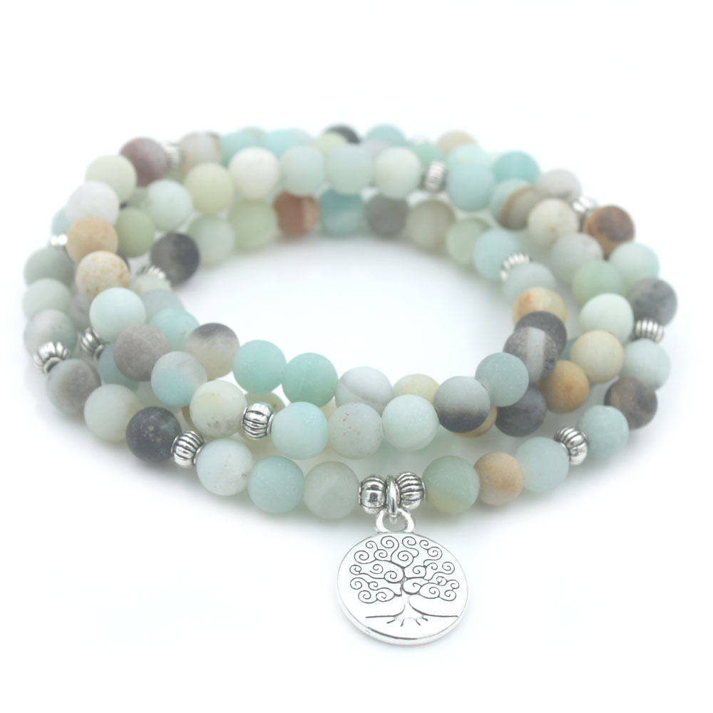 6mm Frosted Amazonite Bracelet Prayer Beads Tree Life charm bracelet 108 Amazonite Mala Beads Bracelet For Women Energy Bracelet встраиваемый в дорогу светильник feron sp2707 32135
