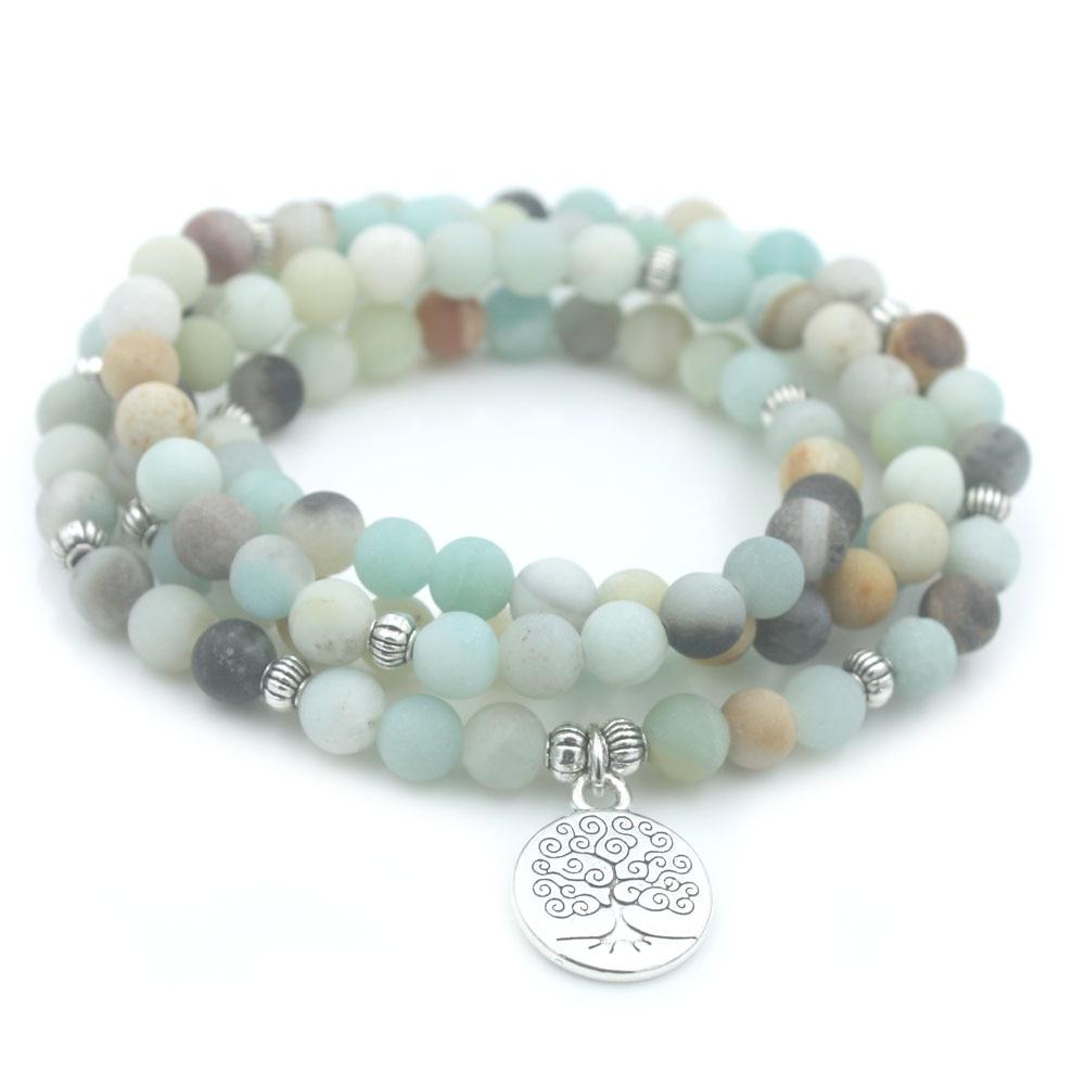 6mm Frosted Amazonite Bracelet Prayer Beads Tree Life charm bracelet 108 Amazonite Mala Beads Bracelet For Women Energy Bracelet