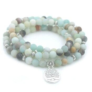 Bracelet Amazonite Givré 108 Perles Mala Bouddhiste Collier énergétique