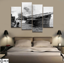 Home Decor Modular Canvas Picture 4 Piece Military USS Franklin CV-13 Painting Poster Wall For Home Canvas Painting Wholesale цена