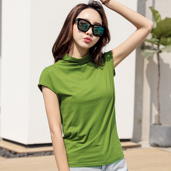 2XL 3XL Summer Cotton T Shirt Women Short Sleeve Female Tshirt Turtleneck Slim Fit Top Tee Shirts Camiseta Mujer Blouses & Shirts