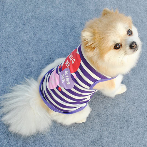 New Arrival Pet Puppy Dog Summer T-Shirt Small Cat Clothes Stripes Heart Vest Apparel XS-L BHUO