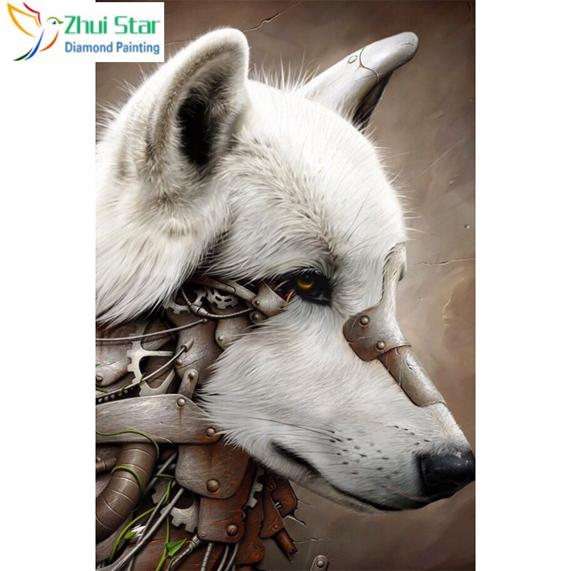 Full Square 5D DIY Diamond Painting White Wolf Embroidery Cross Stitch Mosaic Home Decor Gif CJ5